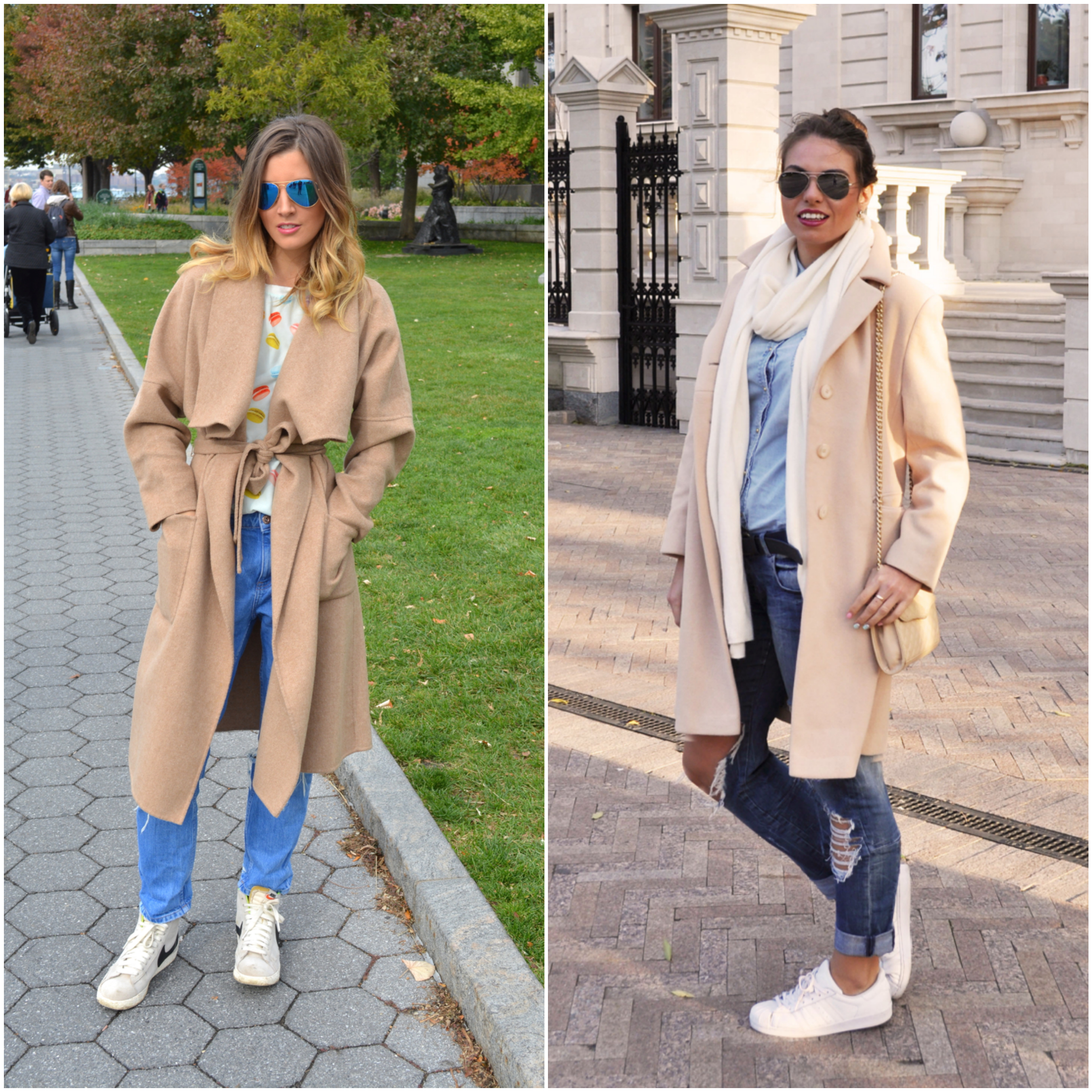 Coat and sneakers